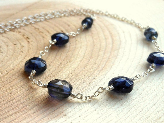 Blue Iolite Necklace Sterling Silver, Indigo Faceted Stones, Gemstone Strand necklace