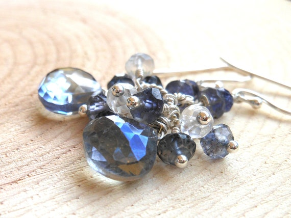 Blue Mystic Quartz Earrings, Clusters with Iolite, Sterling Silver Faceted Gemstone Dangle Earrings