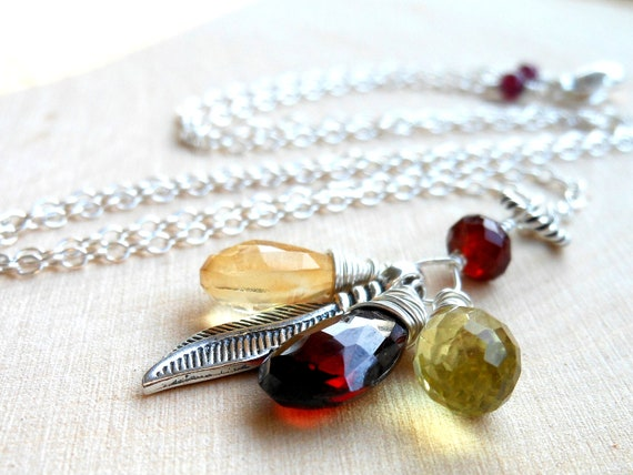 Multi Gemstone Pendant Necklace, Sterling Silver Leaf Charm with Garnet, Citrine