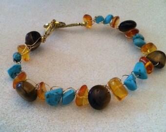 Tiger Eye, Amber and Magnesite Bracelet