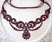 Lotus lace choker necklace burgundy