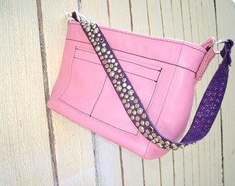 The mini Ball Buster bag in Pink and Purple READY TO SHIP, stones and studs on shoulderstrap