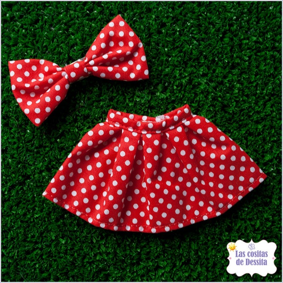 Red and White Polka Dots Skirt Falda Blythe Pullip and Bow