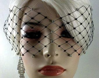 "Black, Ivory or White English Net Veil Mask with Rhinestones 4"" x 15"", Wedding Veil, Bridal Veil"