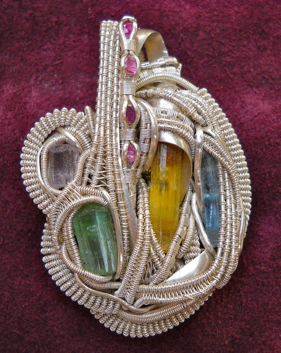 Multi-Gem Wire Wrapped Necklace