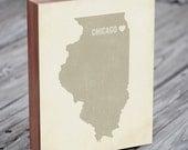 I Love Chicago 8x10 Wood Block Art Print - Illinois City State Heart