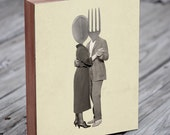 Kitchen Art - Slow Dancing Utensils - Spoon Fork - Kitchen Art Print - Wood Block Print