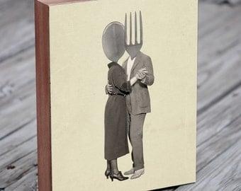 Kitchen Art - Slow Dancing Utensils - Spoon Fork - Kitchen Art Print - Wood Block Print