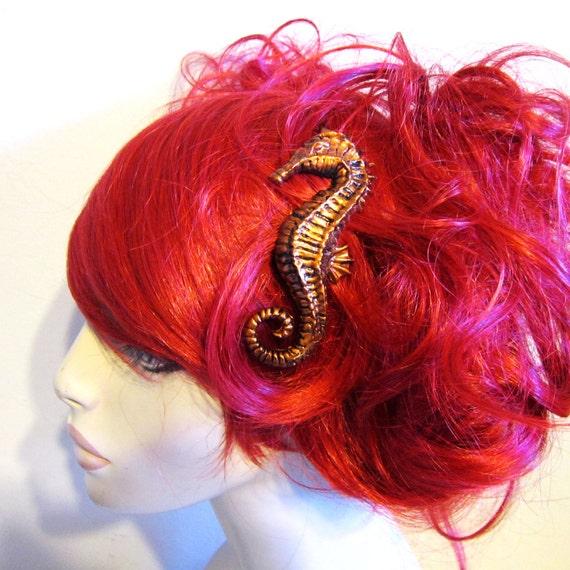 Seahorse hair clip - COPPER color resin - Nautical mermaid hair accessory