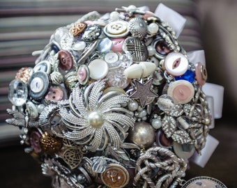 Large Bespoke Button and Brooch Mix Bridal Bouquet