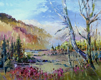 Autumn canadian landscape, oil painting by Shirley Levie, 12'' X 16'' impressionist painting for your home decor