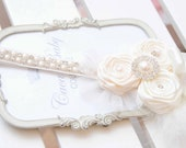Flower Girl Headband Ivory Chic Couture Headband with Ivory Roses Posh with Pearls  Rhinestones Silk Tulle and Feather