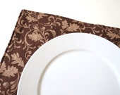 Pair of Reversible Placemats: Acorn Brown with Leaves and Brown Plaid