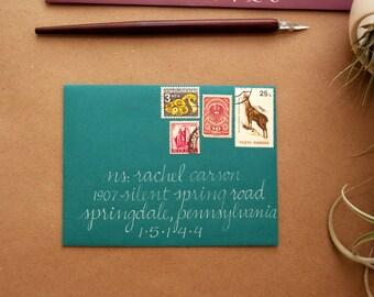 Calligraphy Envelope - Hand Addressed Teal Envelope