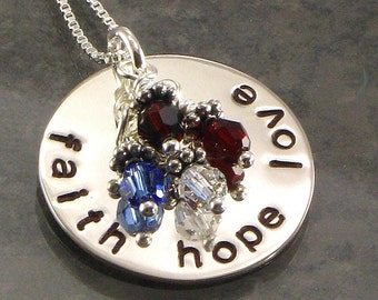 Hand Stamped Personalized Jewelry -  Faith, Hope, and Love Sterling Silver Neckace