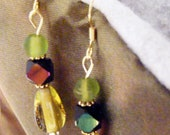 Northern Lights Glass Dangle Earrings/Aurora Borealis and Translucent Green Glass, Gold Toned Daisy Rondelles Fish Hook Wire Dangle Earrings