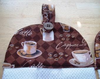 Towels, 2 New with decorative fabric, Coffee Cups, Cappuccino, Espresso design