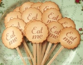 Eat Me - Alice in Wonderland Inspired Party Toppers - Vintage Inspired - Hand Aged, Chocolate Brown, Manila Cream