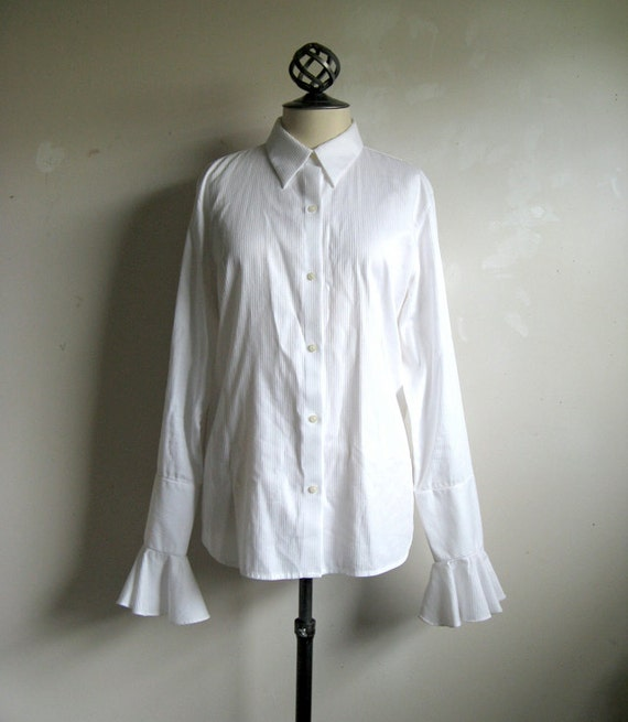 Ralph Lauren Vintage 1990s White Stripe Ruffle Sleeve Blouse Size XL