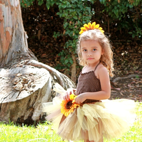 Sunflower tutu - fall tutu - Thanksgiving tutu - Autumn tutu - Newborn Sunflower tutu - Toddler Sunflower tutu - Spring  - Sizes NB-4t
