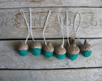 Felted wool acorn ornaments, set of 6, Kelly Green