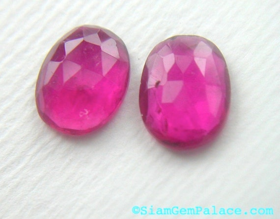 RESERVEd for Maria. Pink ToURMALiNE. Fuschia Matched Pair. SuPeR QuALitY Flat Rose Cut. RoUnD. 2 pc. 1.95 cts. 6x8 mm (TM364)