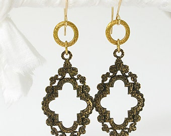 REDUCED Vintage Brass Frame Earrings With Brass Ring Textured On 14k GF Earwire Antiqued And Hammered
