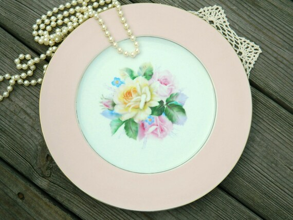 Vintage Noritake Plate in Pink and White with Flowers for Romantic Home Decor