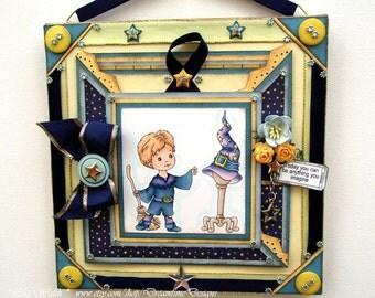 Sorcerer Apprentice Halloween Criss Cross Card Keepsake - Handmade Wall Decor - Personalized Children's Wall Art