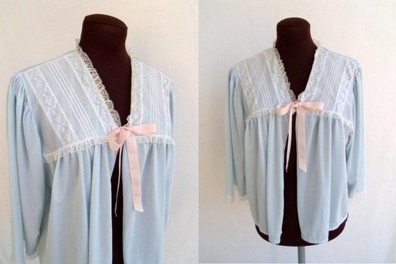 Vintage 60er jahre bett jacke blau nylon und chiffon mit tuck for Bett 60er jahre