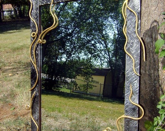 """Wall Mirror with Hand-Forged Scrolls 29"""" X 20"""""""