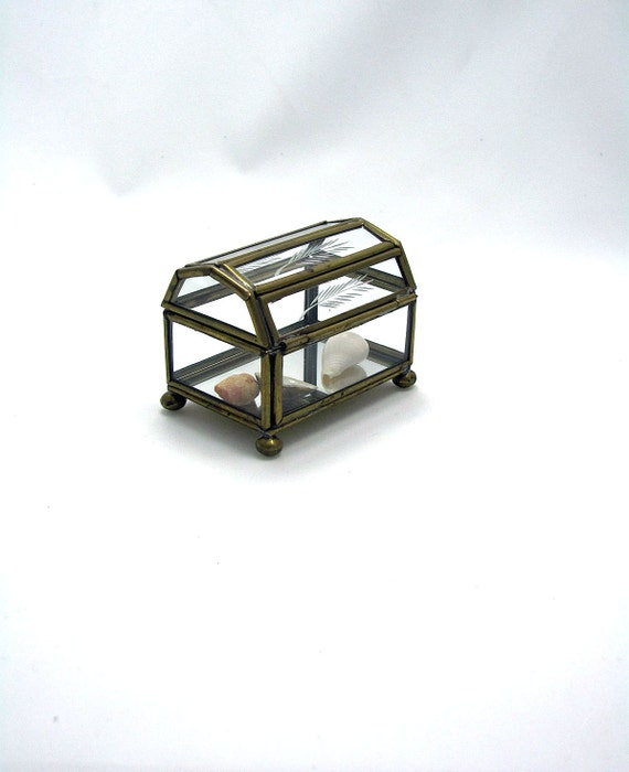 Glass and Brass Box Four Panel Etched Lid with Mirror Bottom Bun Feet