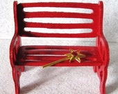 Fairy Garden Miniature Wooden Bench: Autumn Red