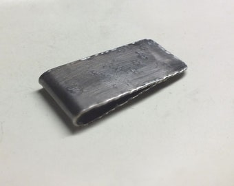 Mens Sterling Silver  Money Clip---Antique Finish with Heavy Texture---Pleated Edges