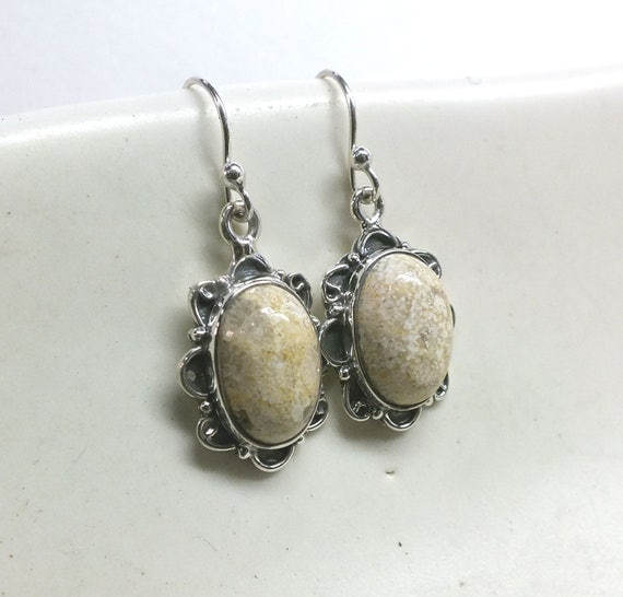 Cream Fossil Coral and Sterling Silver Drop Earrings