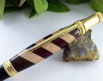 Maple, Black Walnut and Purpleheart Hand Crafted Writing Pen - Free Engraving