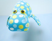 Mod Dot Manatee Soft Sculpture in blue and yellow