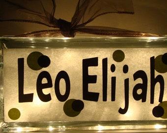 Nursery Glass Block Night Light--Customized with vinyl lettering