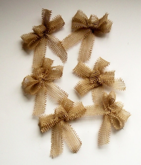 Set Of 6 Bulap Christmas Tree Bows Small