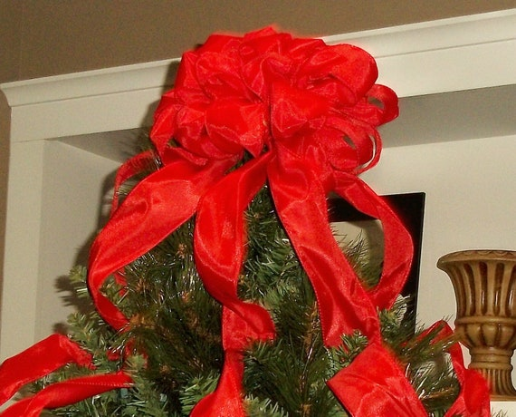 Decorate Christmas Tree With Bows : Red christmas tree topper bow with streamers large