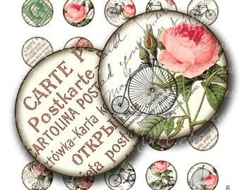 vintage bike 1 inch round images Printable Download Digital Collage Sheet 1 inch circle diy altered art jewelry pendant roses rinchies