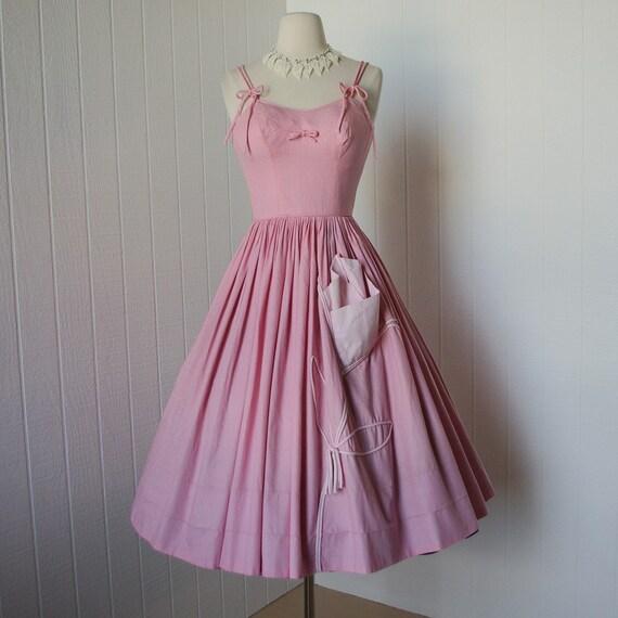 vintage 1950's Candy Jones California pink gingham lolita bardot rockabilly pin up summer dress