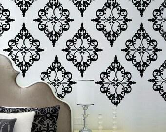 Damask Pattern Vinyl Wall Decal - pattern pack set of 24