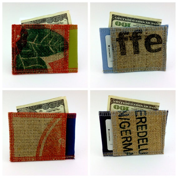 Mystery Small Vegan Wallet - Surprise- Mystery wallet- Made from Coffee Sacks- Ready to Ship- Random small wallet