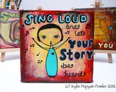 Original Mixed Media Painting - 'Sing Loud' Whimsical Collage Happy X5
