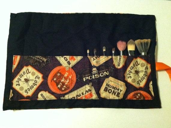Poison Bottle Labes Roll Up Make-Up Brush Bag