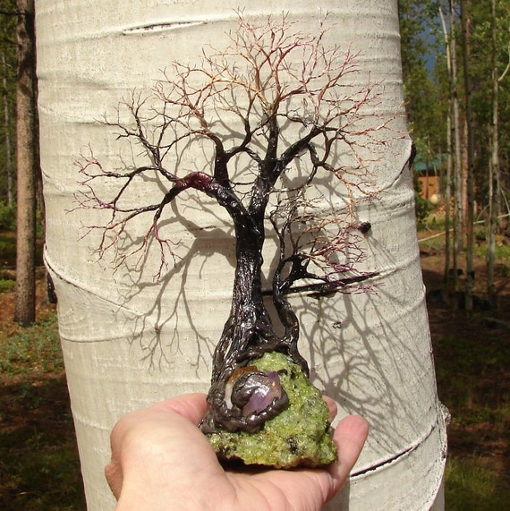 Calming the Wind, Tree Of Life Forest Spirits sculpture Peridot Lava Bomb, Amethyst and Citrine Quartz Crystals, original art  PLB 5