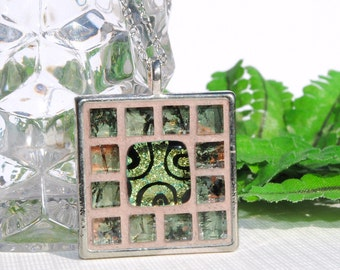 Mosaic Art Pendant, Dichroic Glass, Mirrored Art Glass, Square, Tray Pendant, Woodland, Nature, Green Peach, Unique Gift (Item 10497-P)