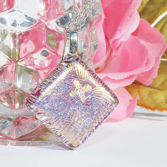 Shimmer & Shine -- Dichroic Fused Glass Mini Pendant (Item 10160-P)