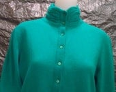 CLEARANCE  Vintage Teal Wool & Angora High Neck 80's Sweater  M